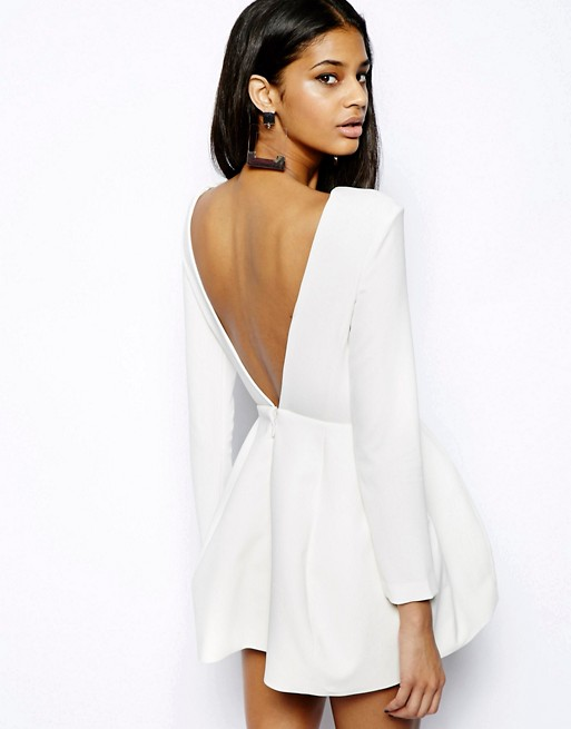 Aq Aq Beat Mini Dress With Low Back And Sleeves Asos