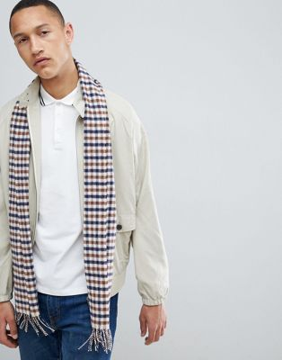 Aquascutum Lambswool Club Check Scarf in Beige