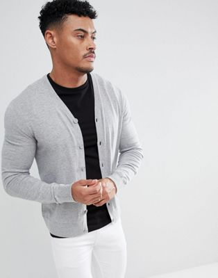 Armani Exchange Cotton Cashmere Cardigan In Grey