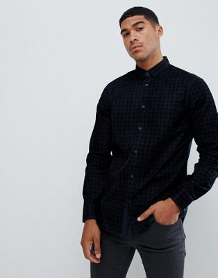 Image 1 of Armani Exchange flocked check shirt in navy