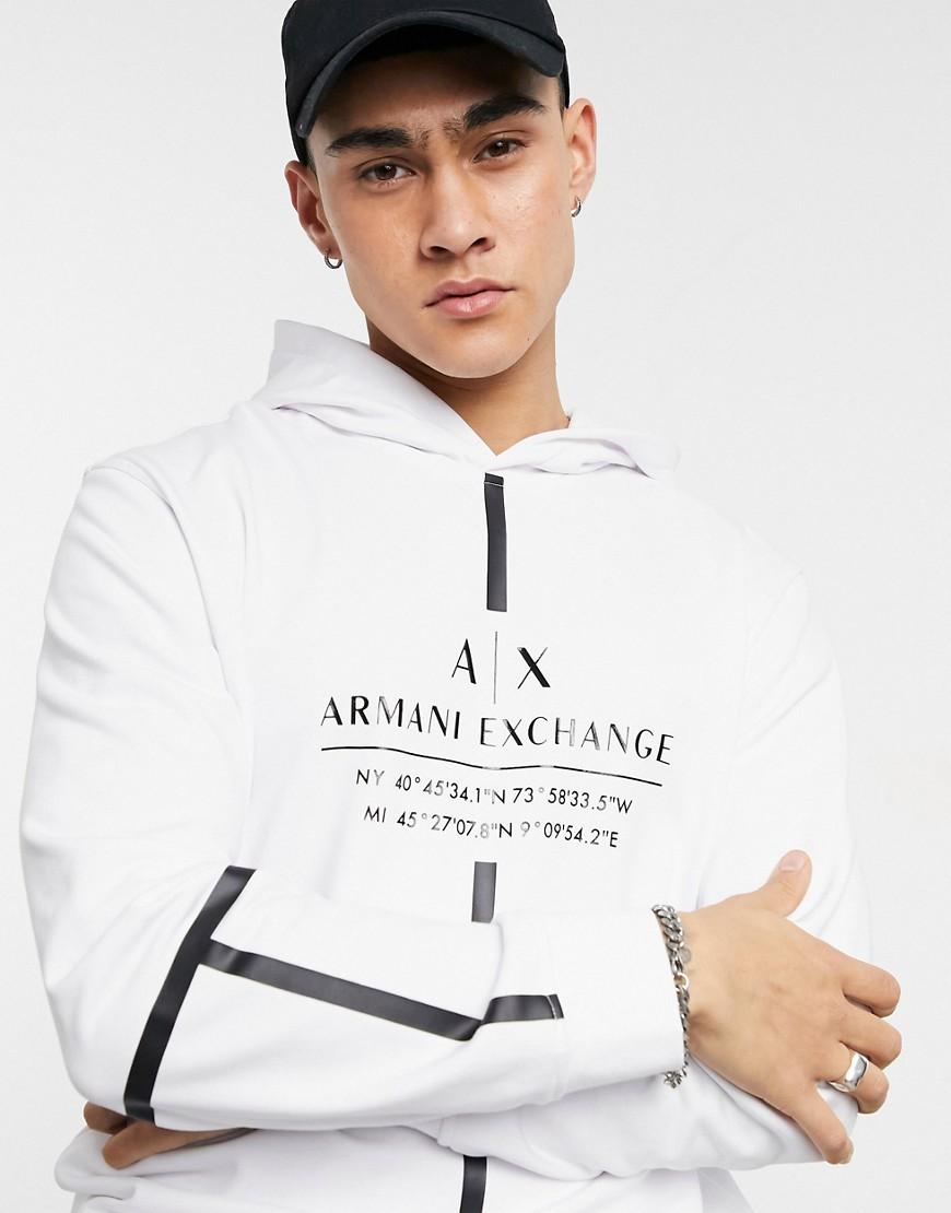 Armani Exchange - Hættetrøje i hvid med tape-logo foran