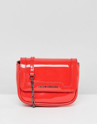Armani Exchange Red Chain Strap Cross Body Bag
