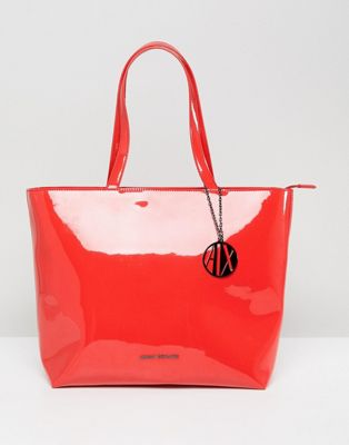 Armani Exchange Smooth Red Tote Bag