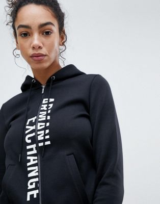 Armani Exchange Spliced Logo Zip Through Hoody