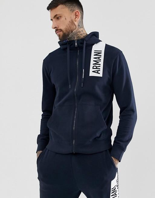 Armani Exchange - Sweater met capuchon, rits en logo op de borst in marineblauw