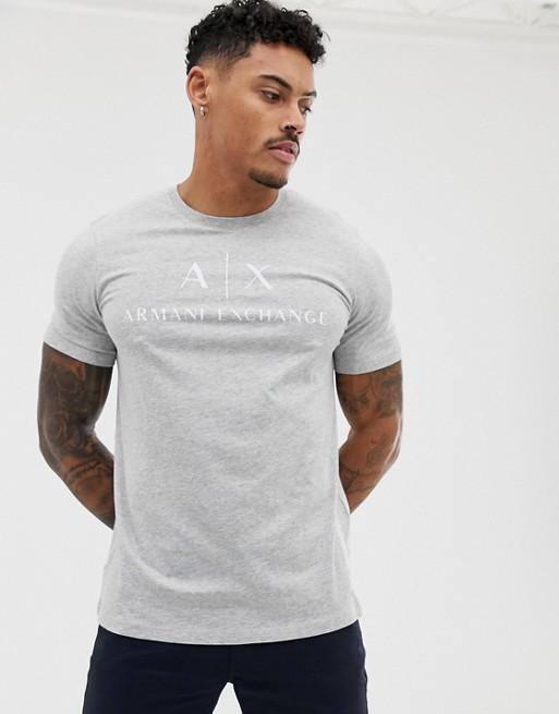 Armani Exchange text logo t-shirt in gray