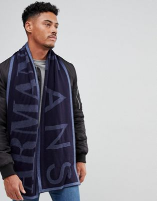Armani Jeans Large Logo Wool Mix Scarf in Navy