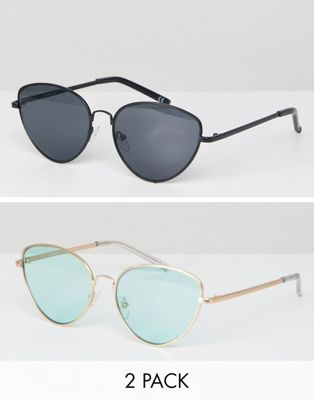 ASOS 2 Pack Cat Eye Sunglasses Black and Gold