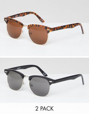 ASOS 2 PACK Classic Retro Sunglasses