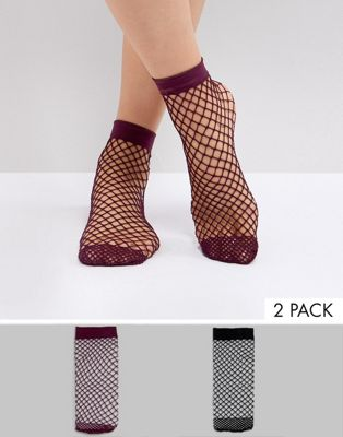 ASOS 2 Pack Oversized Fishnet Socks In Black And Berry