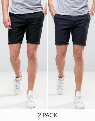 ASOS 2 Pack Skinny Chino Shorts In Black & Navy SAVE