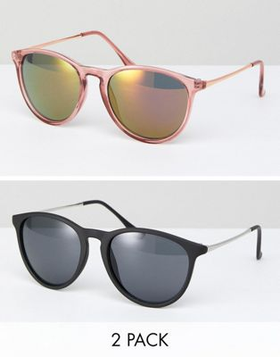 ASOS 2 Pack Skinny Keyhole Retro Round Sunglasses In Pink And Black