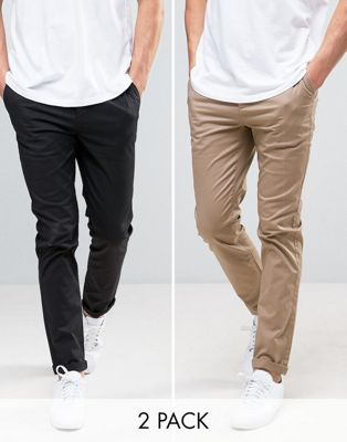 Image 1 of ASOS 2 Pack Slim Chinos In Black & Stone SAVE