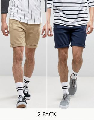 ASOS 2 Pack Slim Denim Shorts In Stone And Dark Blue SAVE