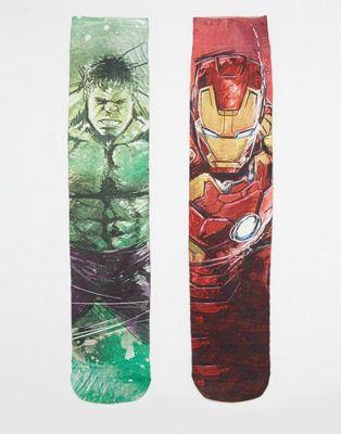 ASOS 2 Pack Socks With Hulk And Iron Man Print