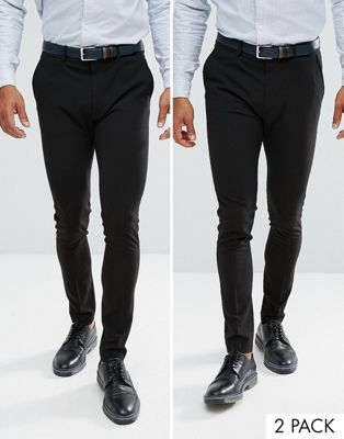 ASOS 2 Pack Super Skinny Trousers In Black SAVE