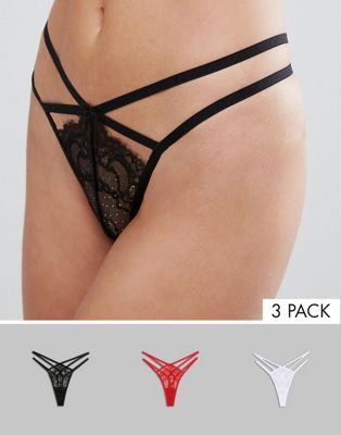 ASOS 3 Pack Strappy Thong With Eyelash Lace