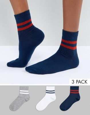 ASOS 3 Pack Stripe Ankle Sock