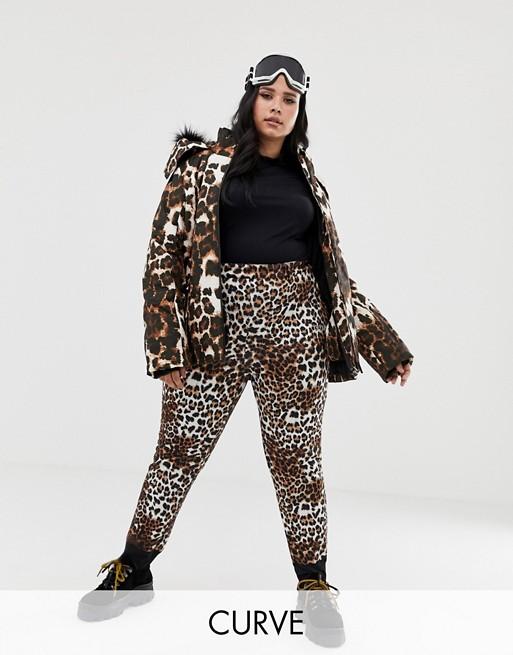 ASOS 4505 Curve ski mix and match trousers in super slim fit in leopard print