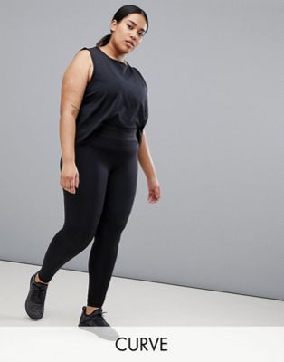 ASOS 4505 Curve training legging with bonded waistband and laser cut technology
