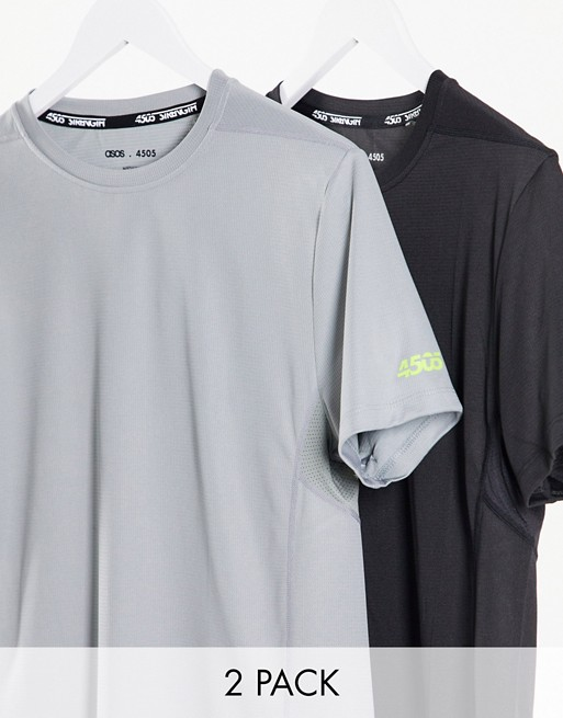 4505 Icon Training T-shirt With Quick Dry In Black And Grey 2 Pack Save