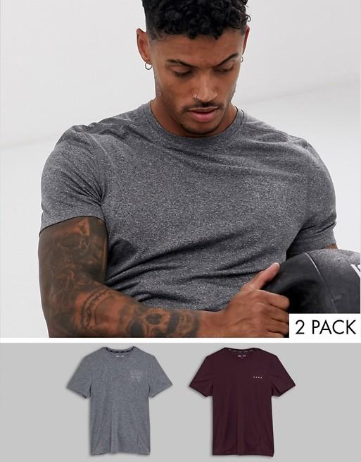ASOS 4505 - Lot de 2 t-shirts de sport en tissu à séchage rapide - ÉCONOMIE Zw8Mno