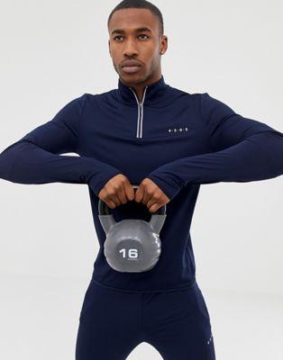 ASOS 4505 - Sweat-shirt de sport moulant à demi-fermeture et tissu séchant rapidement