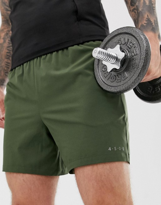 Image 1 of ASOS 4505 training shorts in mid length in khaki