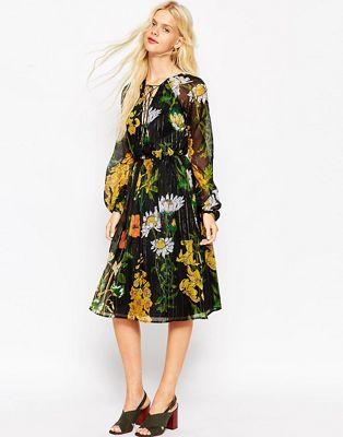 Image 1 of ASOS 70's Botanical Foil Floral Blouson Sleeve Midi Dress