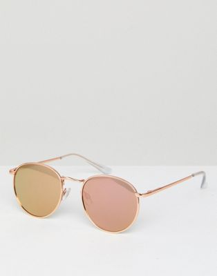 ASOS 90s Metal Round Sunglasses In Rose Gold Flash