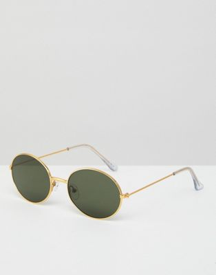 Image 1 of ASOS 90s Oval Metal Sunglasses In Gold