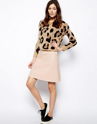 Image 1 of ASOS A-Line Skirt In Patent PU