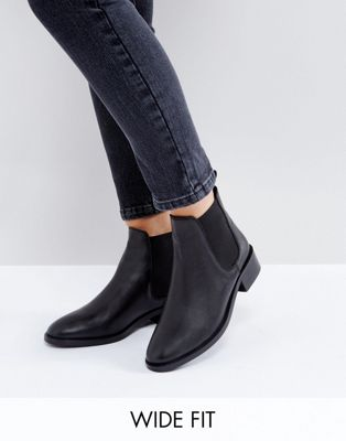 ASOS ABSOLUTE Wide Fit Leather Chelsea Ankle Boots