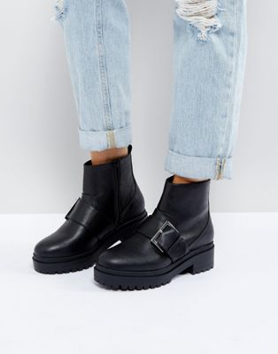 ASOS ACCELERATE Chunky Buckle Ankle Boots in Water Based PU