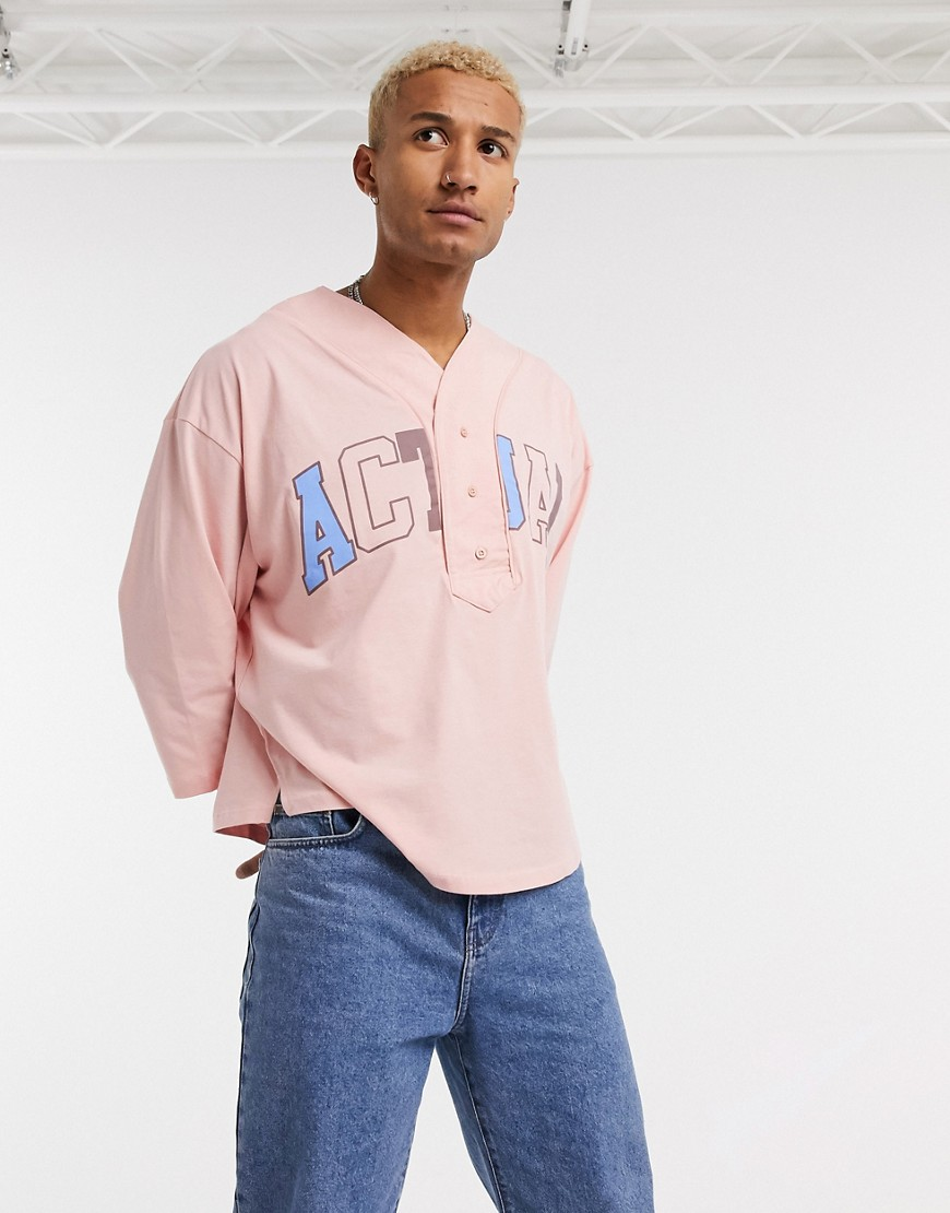 ASOS - Actual - Oversized T-shirt med baseball-hals og 'Actual'-logo-Lilla