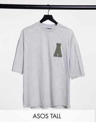 ASOS Actual Tall – Oversize-T-Shirt aus grauem Cord mit Logoapplikation
