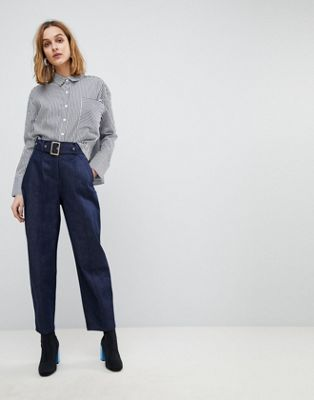 ASOS ALANIS Balloon Leg Denim Trousers In Raw Indigo