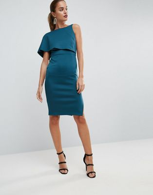 Image 1 of ASOS Asymmetric One Shoulder Cape Bodycon Midi Dress