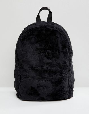 ASOS Backpack In Black Faux Fur