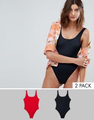 ASOS – Badeanzüge im Multipack mit U-Ausschnitt und hohem Beinschnitt