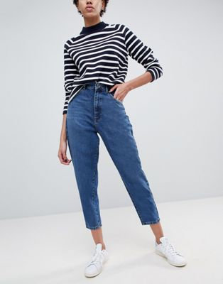 ASOS Balloon Leg Jeans In Dark Wash Blue