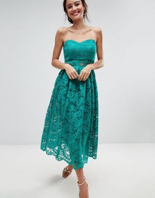 ASOS Bandeau Lace Midi Prom Dress