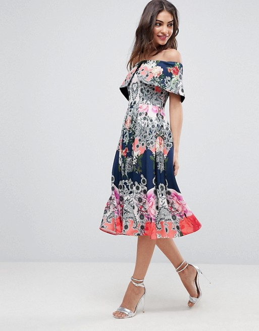 ASOS Bardot Ergonomic Floral Midi Prom Dress