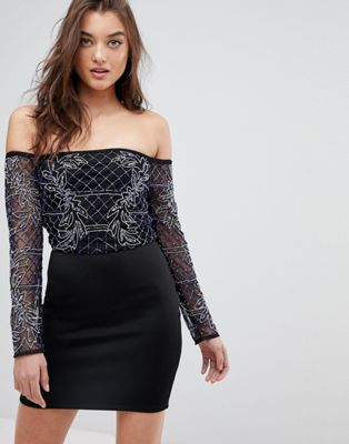 Image 1 of ASOS Bardot Long Sleeve Mini Embellished Dress