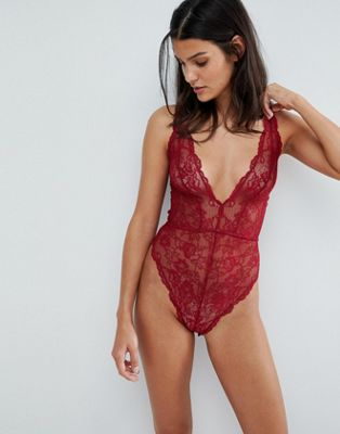 ASOS Blair High Leg Lace Body With Lace Up Back