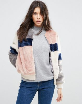 Image 1 of ASOS Bomber Jacket in Patched Faux Fur