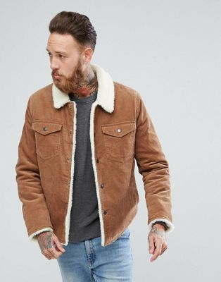 ASOS Borg Lined Cord Jacket In Tan