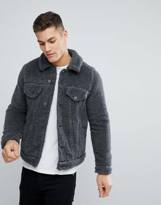 ASOS Borg Western Jacket in Grey Marl