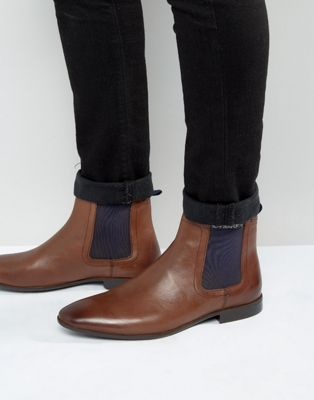 ASOS - Bottines chelsea en cuir - Marron