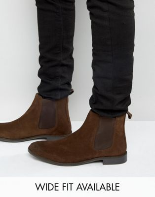 ASOS - Bottines chelsea en daim - Pointure large disponible
